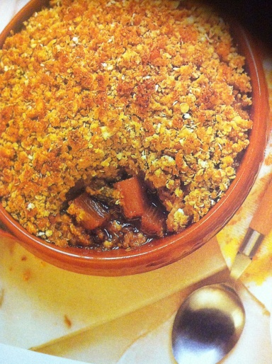 Serves 4 Family members who like old-fashioned pudding will love this sticky-toffee fruit layer topped with a healthful and delicious crunchy oat mixture.