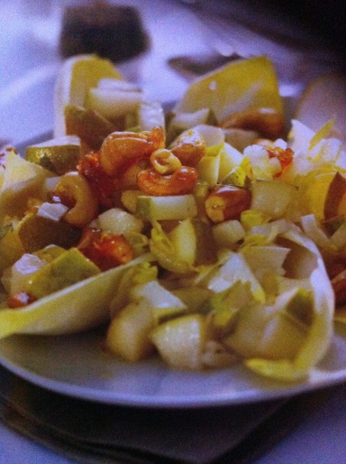Belgian endive has a bright, tangy flavour, which is balanced by the sweetness of the pear and the crispy, caramelised cashews in this salad. If you purchase the endive in advance, store in the fridge wrapped in paper, then in a plastic bag because it will turn green and bitter if exposed to light.