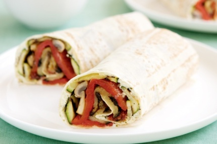 These deeply satisfying warm wraps are equally good when served cold. Try them as a lunch time meal. Simply allow the vegetables to fully cool before constructing the wrap.