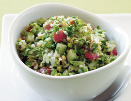 Serves 6 30 minutes or fewer Traditional Middle Eastern tabbouleh is more about the mint and herbs than the bulgur grains. The longer this salad sets, the better it gets, so make it up to a day ahead.