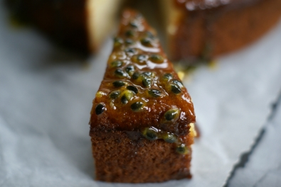 Banana Cake With Passion Fruit Glaze