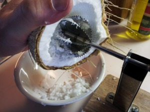 An example of a simple coconut grater. Worth investing in one if you can.